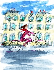 Woman on a bicycle by Barbara Redmond