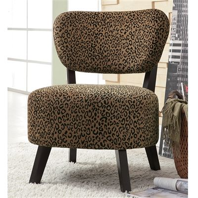 Leopard patterned accent armless chair w dark brown legs chenille