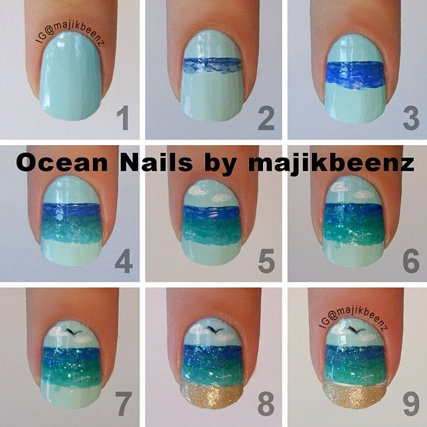 "DIY Ocean/beach nails Sky ""Cyclone Sky"" by Funky Fingers. Darkest ocean OPI ""Dating A Royal"" Next ocean Sally Hansen ""Pacific Blue""  Next ocean Essie ""Naughty Nautical"" and ""In The Cab-ana"" Finish with a solid line white polish Cult Nails ""Tempest"" glitter topper over the ocean only for a little sparkle Sinful Colors ""Green Ocean"".  Sand Zoya Pixie Dust ""Godiva""."