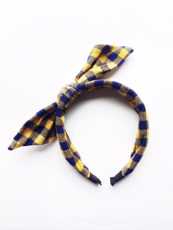 Yellow Navy Tartan Flannel Headband.  Fabric by TheHouseofGarland, $17.00