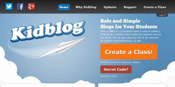 Kidblog Kidblog is built by teachers, for teachers, so students can get the most out of the blogging process.  Kidblog meets the need for a safe and simple blogging platform suitable for elementary and middle school students. Most importantly, Kidblog allows teachers to monitor and control all publishing activity within the classroom blogging community.