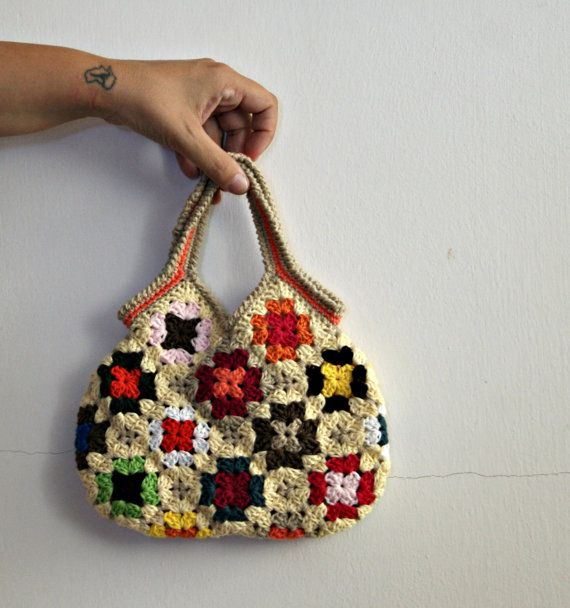 Crochet granny square small bag by knittingcate on Etsy, $48.00