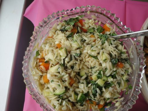 orzo, corn and zucchini salad