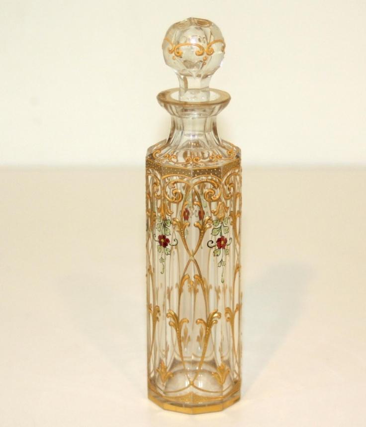 Античный французский эмалированной Ясно Баккара стекла флакон духов - прим.  1890 - 1920