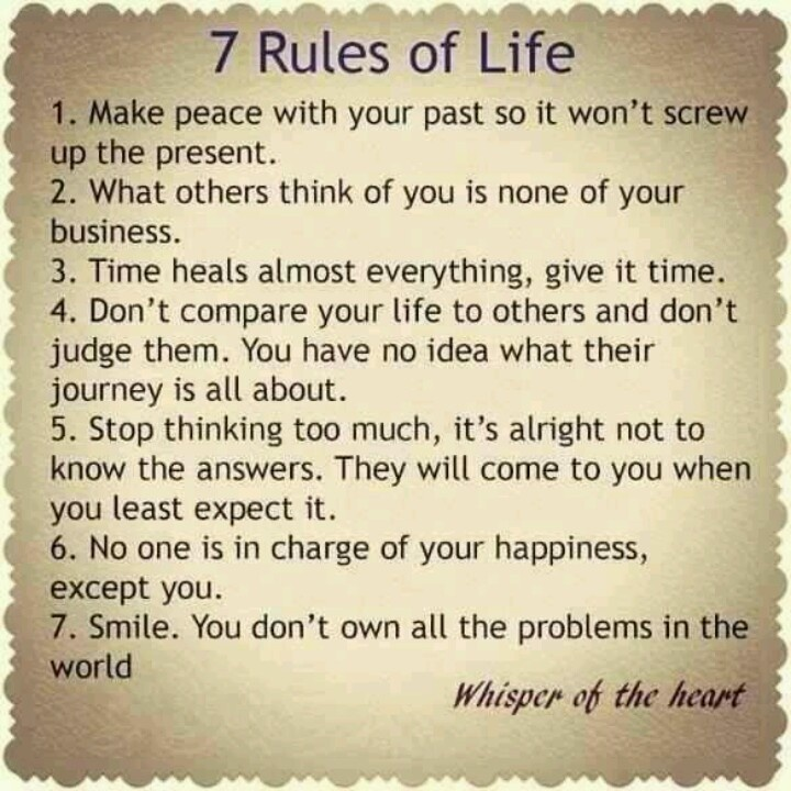 7 rules of life | Quot...