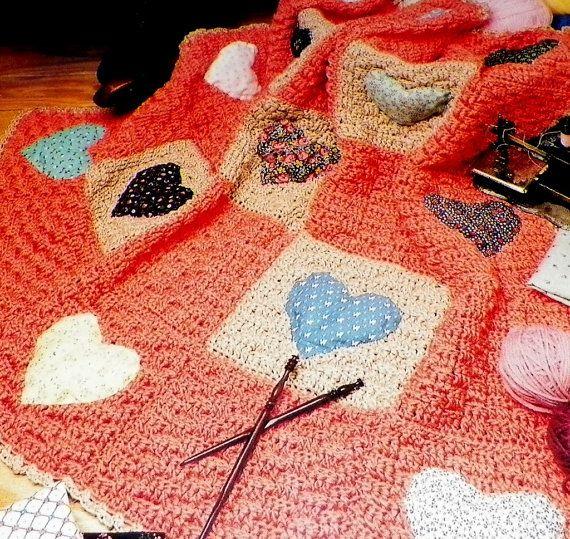 Crochet Patterns Patchwork Quilt : Afghan Crochet Pattern Patchwork Quilt Hearts Throw Blanket Vintage 1 ...