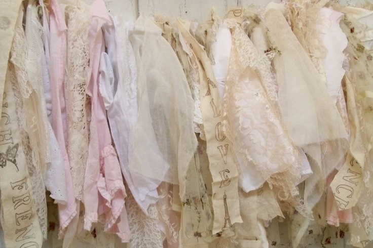 Shabby chic garland pink white tattered