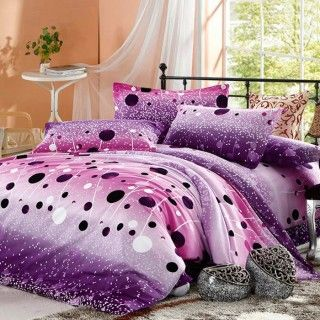 100 cotton purple hot pink polka dot print 4 piece queen - Hot pink and purple bedding ...