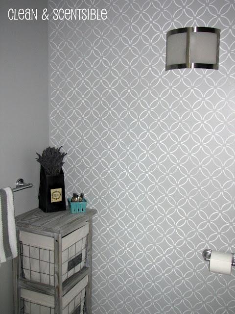 White Stencil On Grey Bathroom Wall