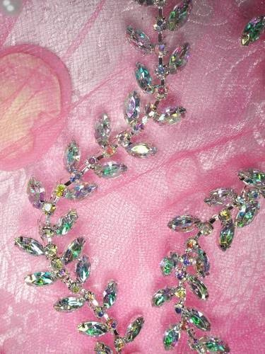 XR115 Aurora Borealis Crystal Rhinestone Trim Leaf Vine Bridal Cake Decoration | eBay