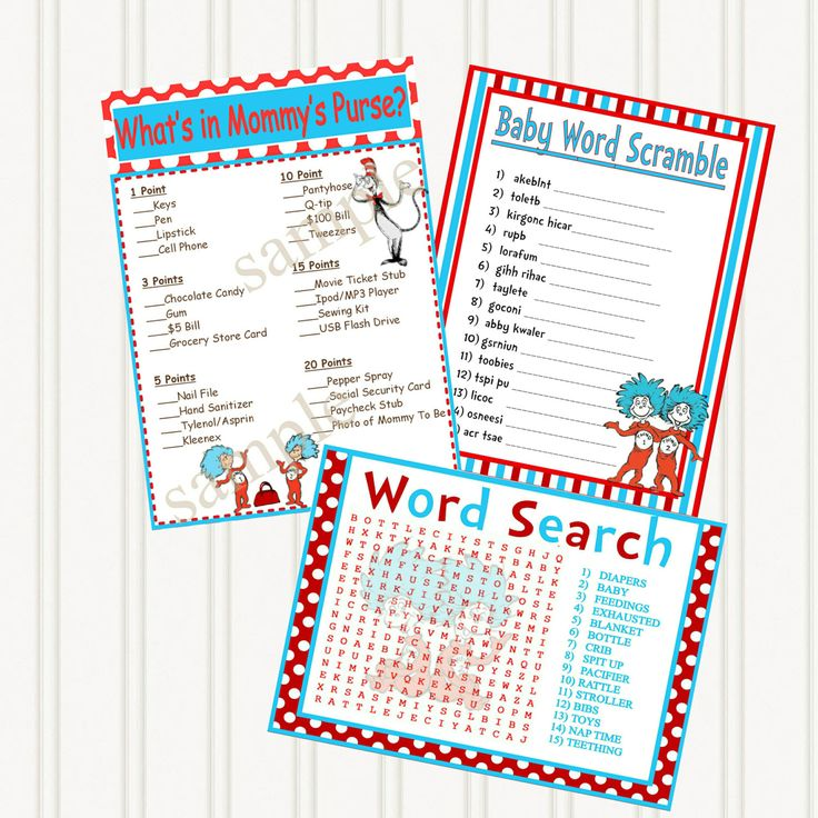 dr seuss thing 1 thing 2 baby shower printable games 3 pack