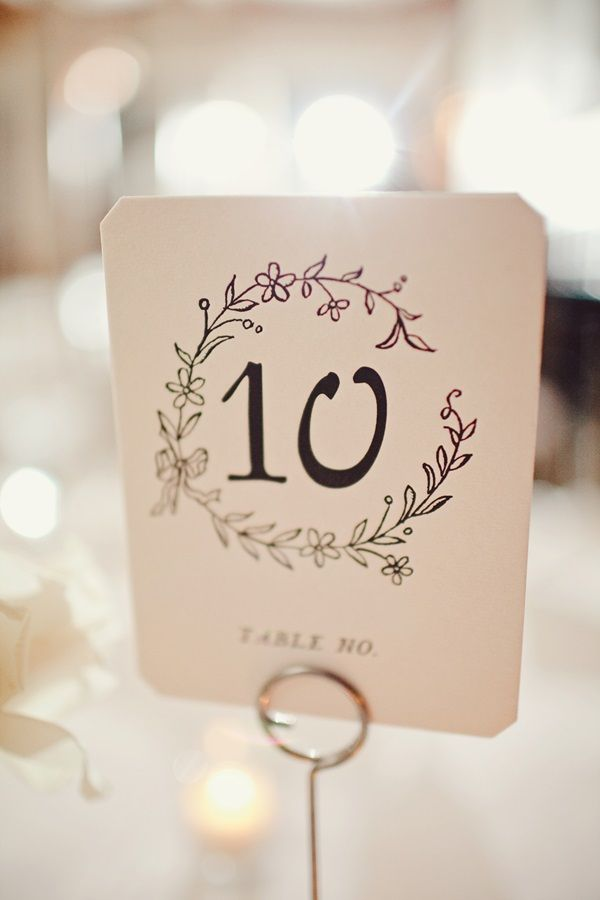 Watercolor And Calligraphy Table Number Cards