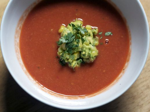 ... Fresh Tomato Soup with Roasted Corn Guacamole | Serious Eats : Recipes