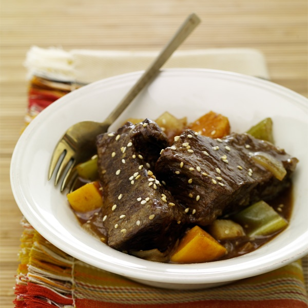 Sesame Root Beer Braised Short Ribs with Sweet Potatoes   Recipe