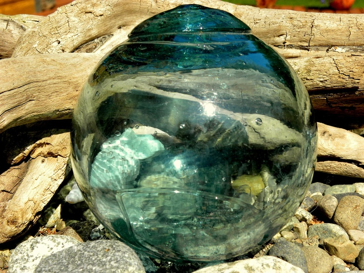 Large vintage japanese glass fishing float dark aqua for Japanese fishing floats