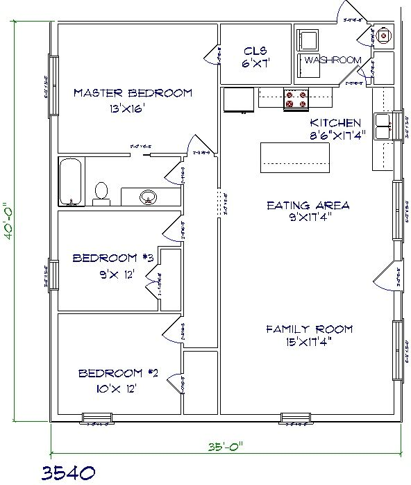 Bedroom 2 Story Bungalow Floor Plan moreover 40x60 Floor Plans together with 9 Bedroom House Plans further 2 Story Barn Open Floor House Plans 2000 Sq as well 30x30 Barndominium Floor Plans. on 3 bedroom house floor plans 40x40