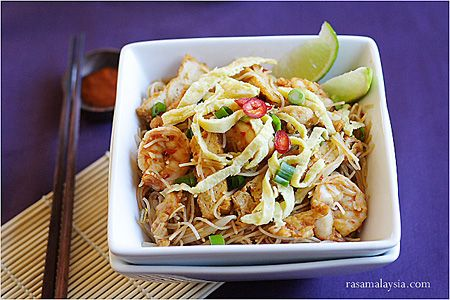 Mee Siam (Spicy Rice Vermicelli) Recipe. A favorite dish from Penang ...