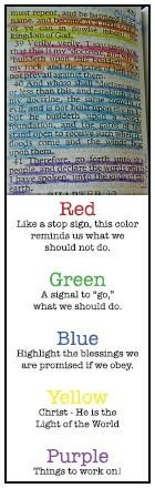 idea for color code marking scriptures--good idea for helping kids learn to study Scriptures