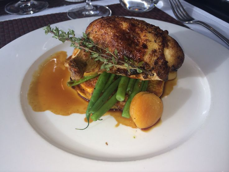 Chicken on a sweet potato pancake with apricot sauce