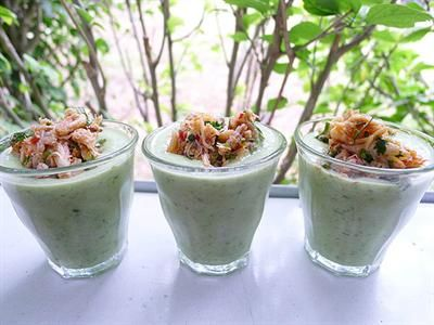 ... Chilled Cucumber Soup Shots with Spicy Crab with Avocado, Coriander