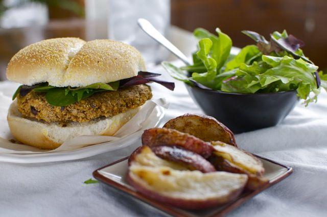 vegan black and white bean burgers (w/ recipe)