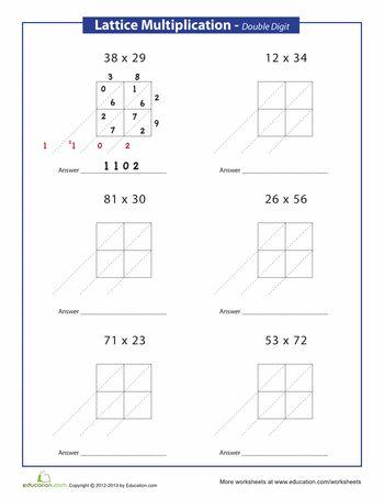 Lattice Multiplication Worksheets Free - Delibertad