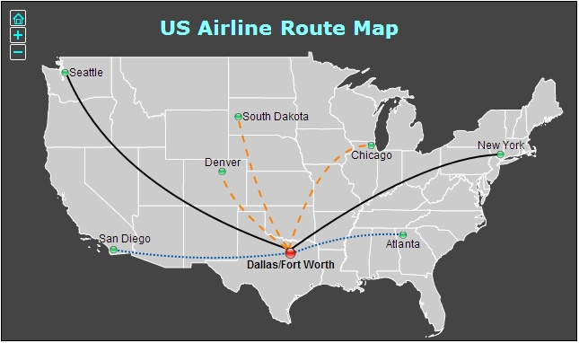 Flight Map in United States Interactive