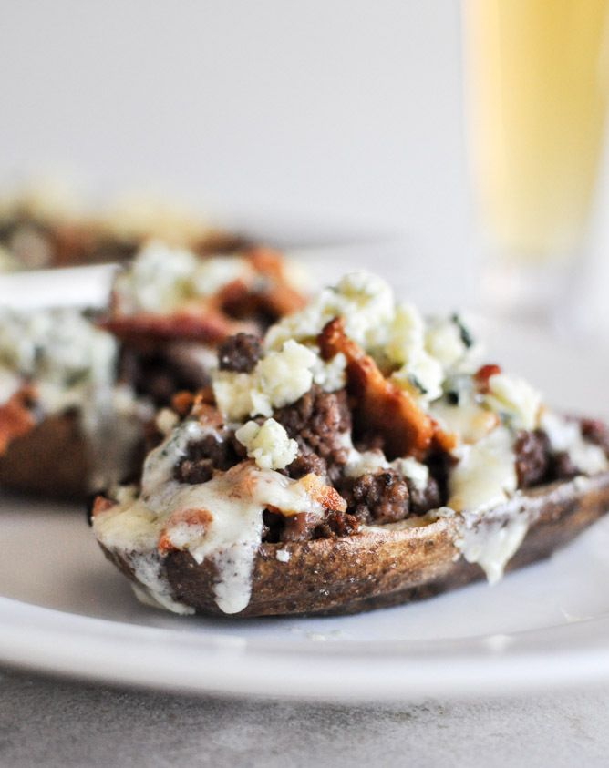 Bacon Blue Cheeseburger Potato Skins recipe from How Sweet It Is