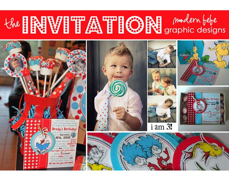 The invitation was in three separate pieces, the front image was a  fun poem with the party information incorporated, the backside was a collage of the birthday boy.