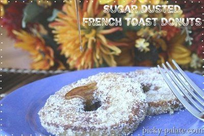 Sugar Dusted French Toast Donuts with Peanut Butter Syrup