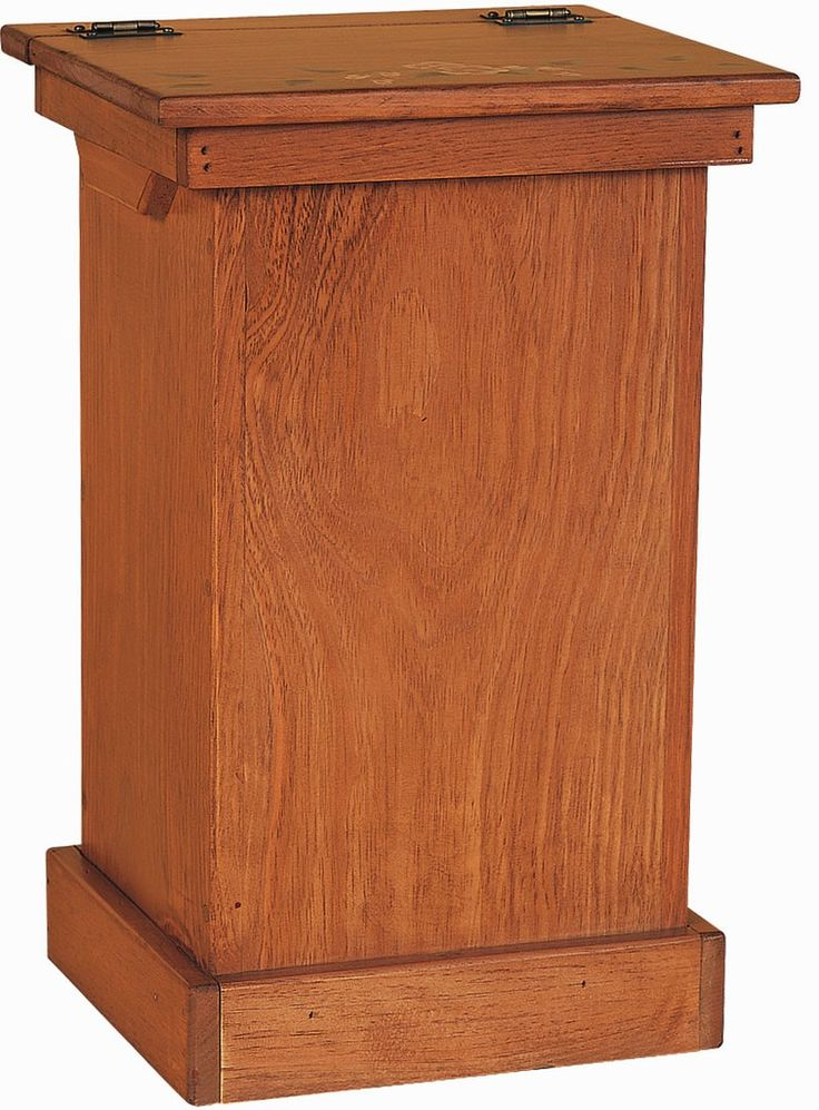 Amish Wood Kitchen Trash Bin Garbage Can Get In Unfinished And