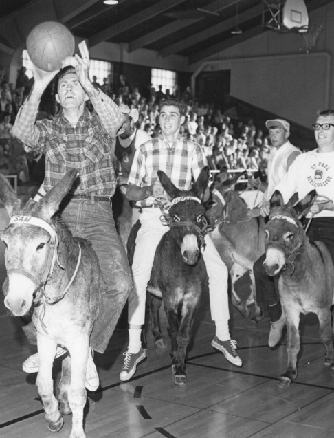 """Does anyone know what this """"donkey basketball"""" game is called? There have been some weird games played at Crown College http://www.crown.edu #crowncollege"""