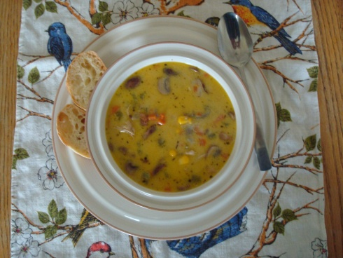 Chicken Chowder with Wild Rice, Crimini Mushrooms and Bacon