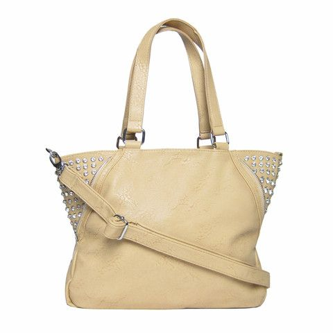 Picture of Diamante Zip Tote Beige - Was 25 NOW 18