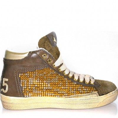 High top trainers made from leather with rhinestones details, rubber