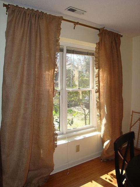 Burlap curtains shower pinterest