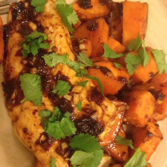Spicy chipotle honey chicken with sweet potatoes