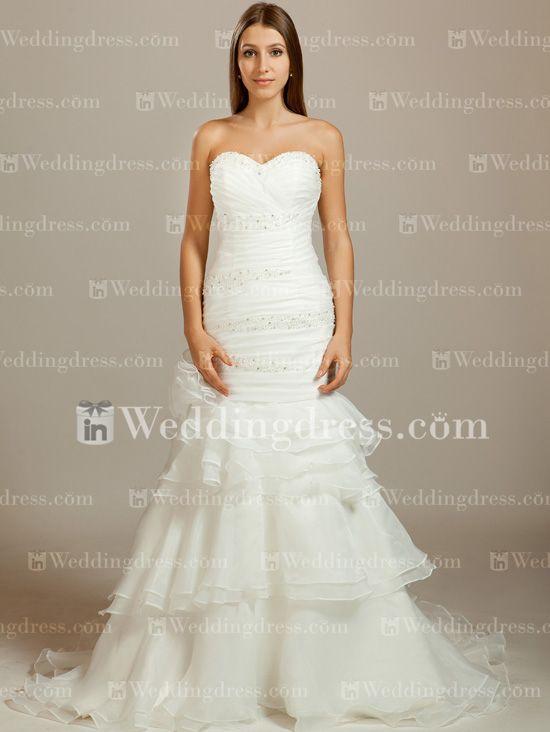 Tiered Organza Fit-N-Flare Wedding Dress http://www.inweddingdress.com ...