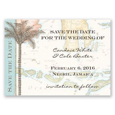 Tropic Travel Save the Date Magnet by David's Bridal #beachweddings #weddinginvitations #beachweddings