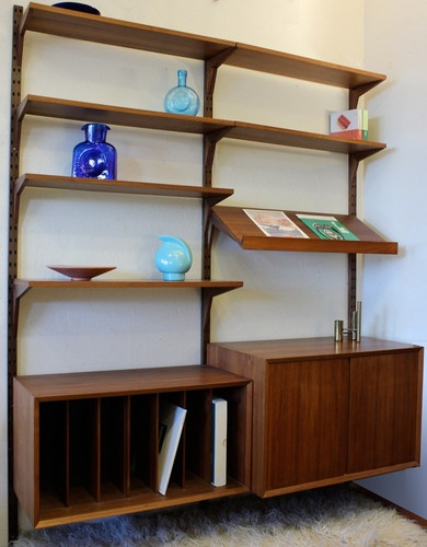 mid century modern danish teak wall unit cado wall mount. Black Bedroom Furniture Sets. Home Design Ideas