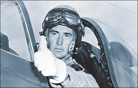 Captain Ted Williams, USMC, in the cockpit of his F-9 Panther, Korean War