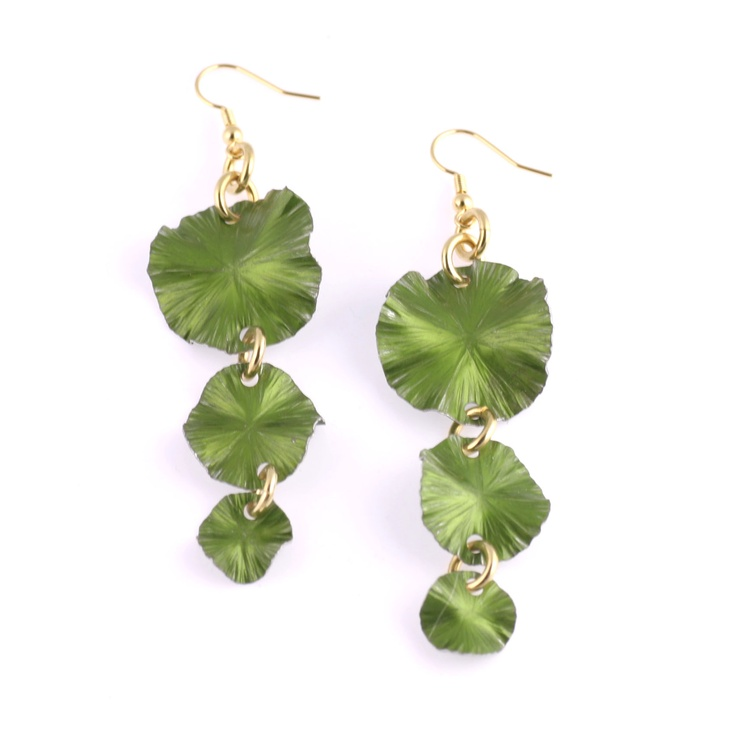 Splash onto the scene with these colorful hand-chased Lime Green Anodized Aluminum three-tiered Lily Pad earrings. These super light-weight earrings are guaranteed to turn heads.