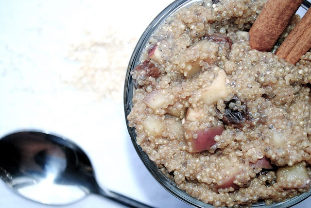 Apple Cinnamon Breakfast Quinoa w/ almond milk & raisens