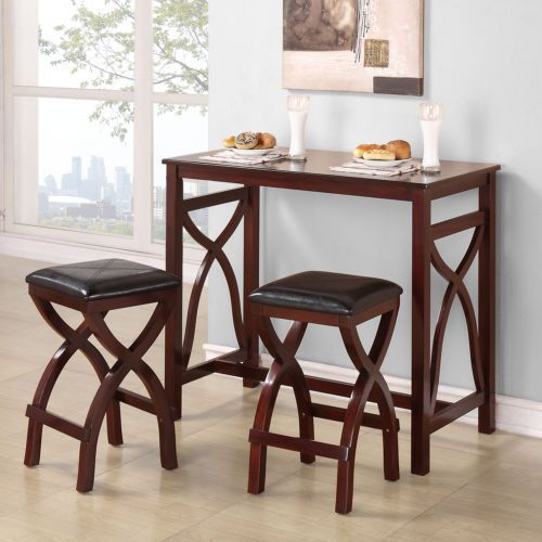Counter Height Breakfast Nook w/ Stools Space Saver 3-Piece Dinette T ...