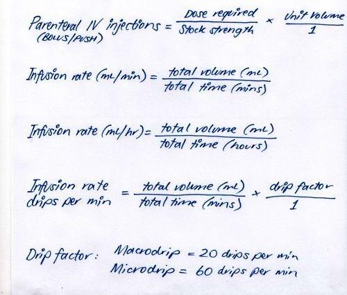 Dosage calc formulas iv