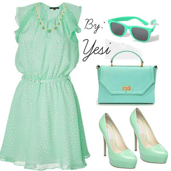 Vestidos De Baño Verde Menta:Vestido de coctel en verde menta 56