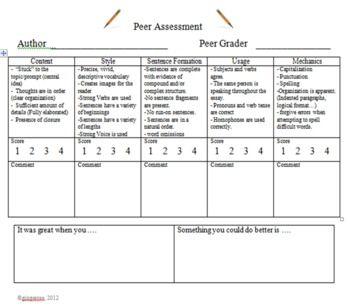 peer essay evaluation