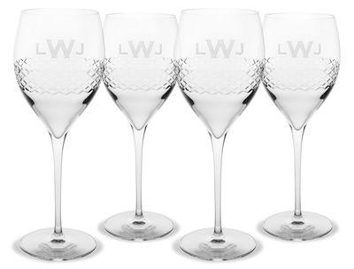 Monogrammed Diamond Cut Wine Glass Set