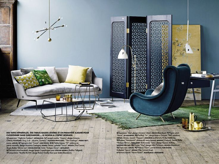 salon bleu jaune gris vert elle d co salon yellow. Black Bedroom Furniture Sets. Home Design Ideas