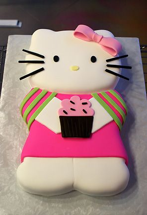 Hello Kitty fondant cake - Buttercreme frosting w/rolled fondant decorations